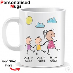 Personalised Mother and Two Child Mug