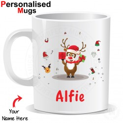 Personalised Kids Childs Christmas Reindeer Rudolph Mug