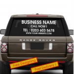 Personalised Business Rear Window Car & Van Vinyl Signs Stickers