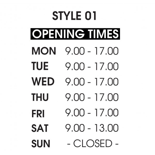 Shop Window Opening Hours Times Sign Wall Sticker Style 01 Custom