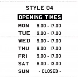 Opening Hours Times Shop Window Sign Style 04 Custom