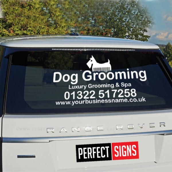 Personalised Car Van Vinyl Decal Rear Window Sticker Dog Pet Groom Walk Business