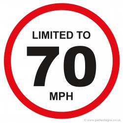 Limited To 70 MPH Vehicle Speed Restriction Small Sticker