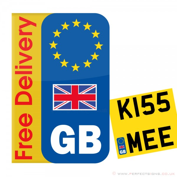 Euro GB Union Jack Motorbike Number Plate Sticker
