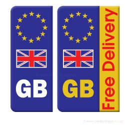 Euro GB Union Jack Number Plate Sticker