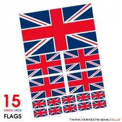 15 Union Jack GB Flag Stickers