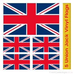 5 Union Jack GB Flag Stickers