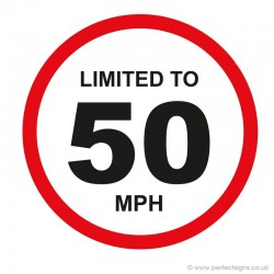 Limited To 50 MPH Vehicle Speed Restriction Small Sticker