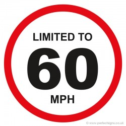 Limited To 60 MPH Vehicle Speed Restriction Small Sticker