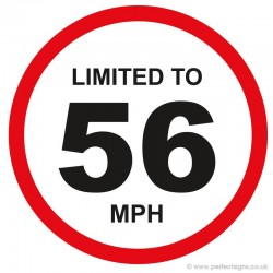 Limited To 56 MPH Vehicle Speed Restriction Small Sticker