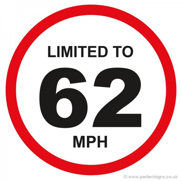 Limited To 62 MPH Vehicle Speed Restriction Small Sticker