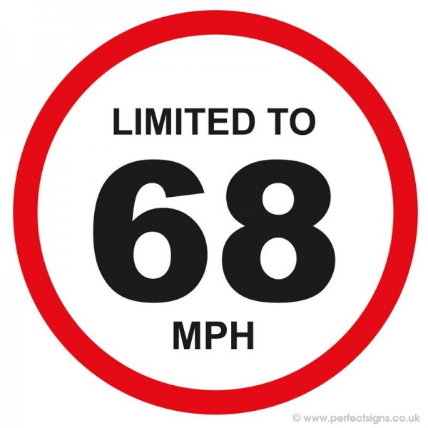Limited To 68 MPH Vehicle Speed Restriction Small Sticker