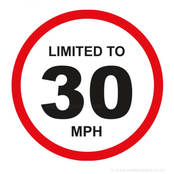 Limited To 30 MPH Vehicle Speed Restriction Small Sticker