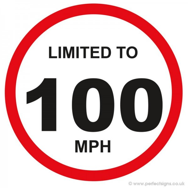Limited To 100 MPH Vehicle Speed Restriction Small Sticker