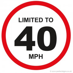 Limited To 40 MPH Vehicle Speed Restriction Small Sticker