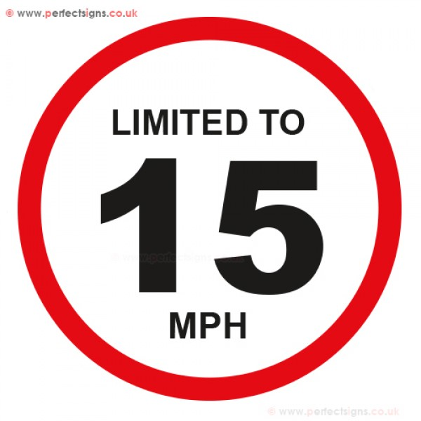 Limited To 15 MPH Vehicle Speed Restriction Small Sticker