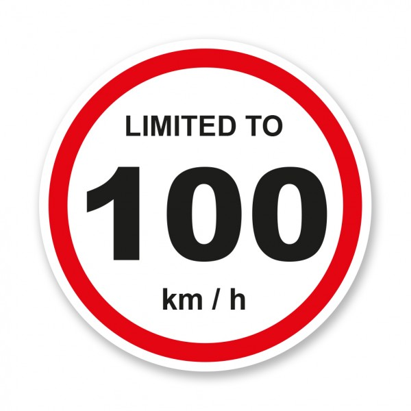 Limited To 100 KMH Vehicle Speed Restriction Small Sticker