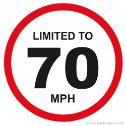 Limited To 70 MPH Vehicle Speed Restriction Sticker