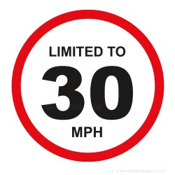 Limited To 30 MPH Vehicle Speed Restriction Sticker