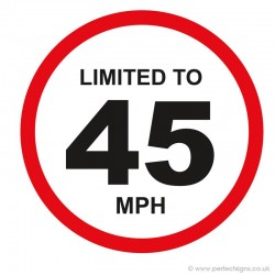 Limited To 45 MPH Vehicle Speed Restriction Sticker