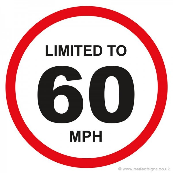 Limited To 60 MPH Vehicle Speed Restriction Sticker