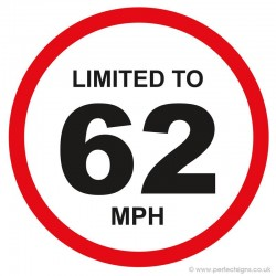Limited To 62 MPH Vehicle Speed Restriction Sticker