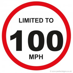 Limited To 100 MPH Vehicle Speed Restriction Sticker
