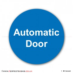 Automatic Door Round Blue Sticker