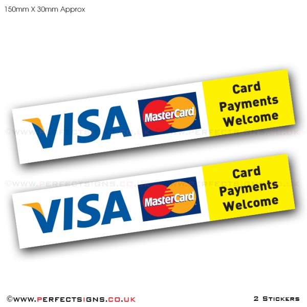 Card Payments VISA Master Card Stickers