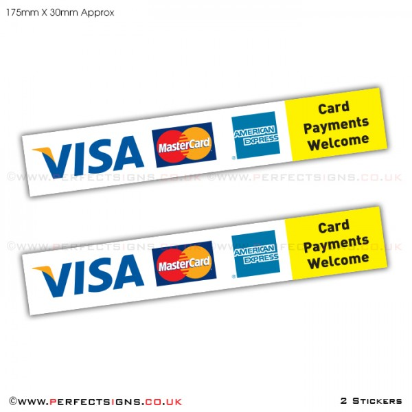 Card Payments VISA Master Card AMEX Stickers
