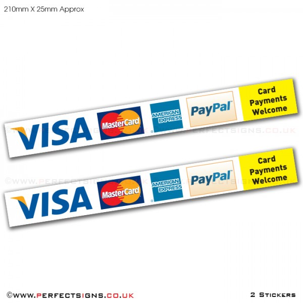 Card Payments VISA Master Card AMEX Paypal Stickers