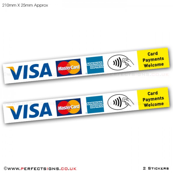 Card Payments VISA Master Card AMEX Contactless Stickers