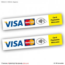 Card Payments Welcome Sticker Taxi Shop VISA Master Contactless