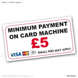 Minimum Payment £5 Contactless Sticker