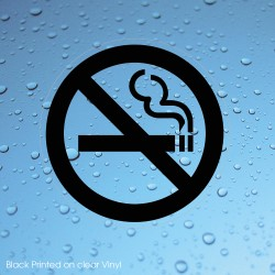 No Smoking Black Transparent 75mm Stickers