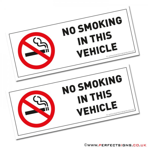 No Smoking In This Vehicle Stickers