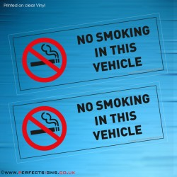 No Smoking In This Vehicle Transparent Stickers