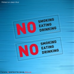 No Smoking Eating Drinking Transparent Stickers