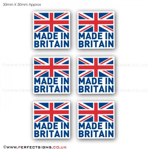 Made In Britain GB Flag Pack of 6 Small Stickers