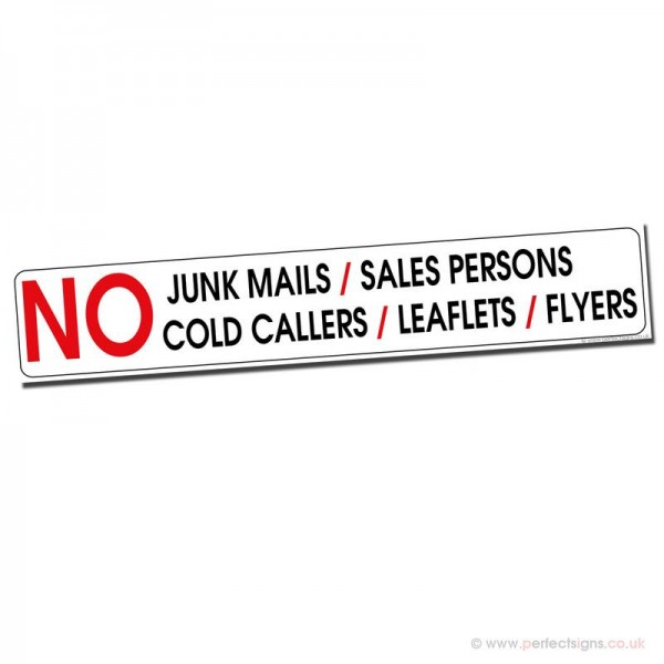 No Junk Mail Cold Callers Salespersons Sticker