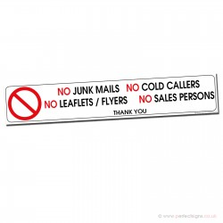 No Sign Junk Mail Cold Callers Salespersons Sticker
