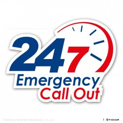 24 7 Emergency Call Out Contour Cut A4 Sticker