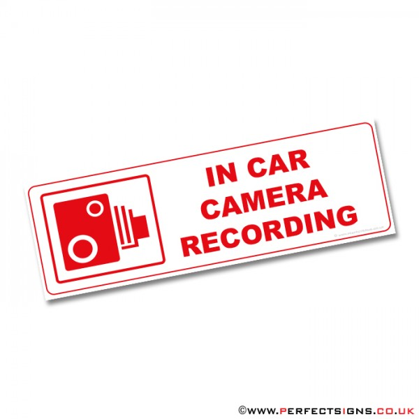 In Car Camera Recording Red Warning Stickers